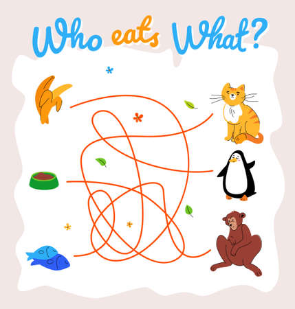 Illustration pour Who eats what maze, labyrinth vector template. Animal food puzzle, educational children game. Adorable ginger cat, penguin and monkey cartoon characters. Wildlife flat illustration - image libre de droit