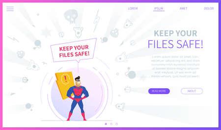 Illustration pour Keep your files safe landing page template - image libre de droit