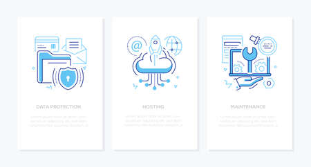 Illustration pour Data protection - vector line design style banners set with place for text. Safe information, hosting, maintenance ideas. Linear illustrations with icons. Images of folders, cloud storage, laptop - image libre de droit