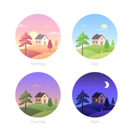 Illustration pour Parts of the day - set of flat design style vector elements in round frames. Modern icons with cottage houses, buildings, countryside landscapes with a field. Morning, afternoon, evening, night themes - image libre de droit