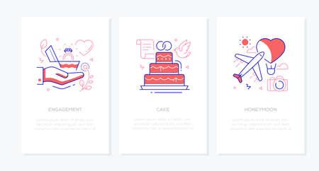 Illustration pour Wedding and marriage - line design style banners set - image libre de droit