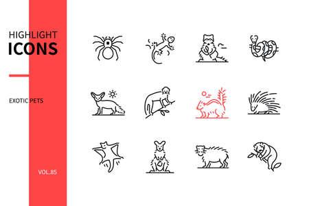 Illustration pour Exotic pets - modern line design style icons set - image libre de droit