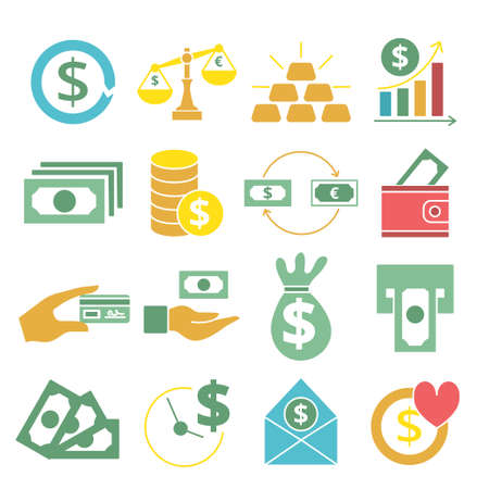 Illustration for Colored flat money icons set. Vector illustration for design - Royalty Free Image
