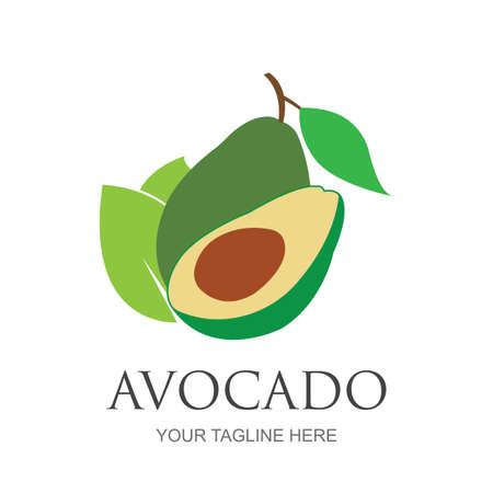 Illustration for Avocado fruit logo template. Avocado half with leaf vector design. Health food logotype avocado logo design vector illustration - Royalty Free Image