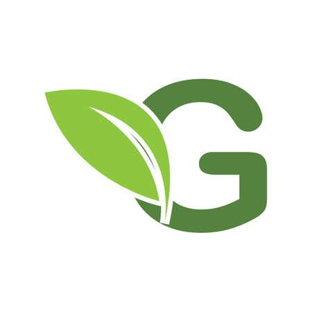 Illustration for green eco leaf letter G logo illustration design template - Royalty Free Image