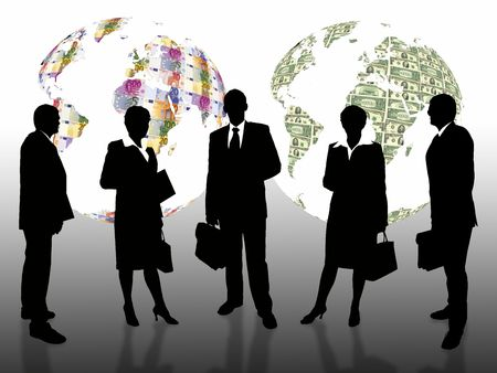 business people with euro/dolar earth globe