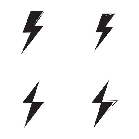 Illustration pour Thunder and Bolt Lighting Flash Icons Set. Flat Style on Dark Background. Vector - Vector - image libre de droit