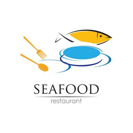 Illustration pour Seafood restaurant design. Fish, Food and Beverage concept. Vector template - image libre de droit