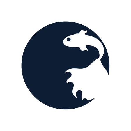 Illustration pour Fish animal aquatic logo beta fish design vector and illustration - image libre de droit