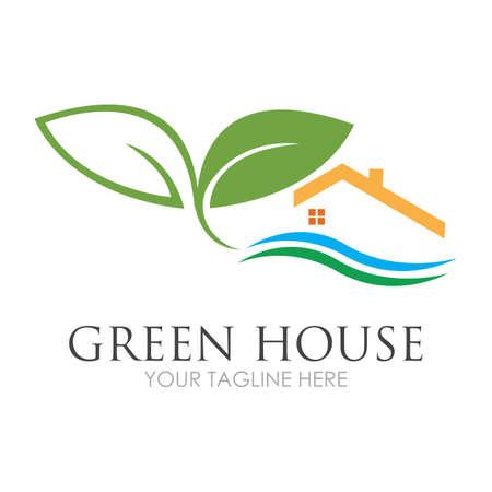 Illustration pour Green House Logo Template Design Vector Illustration - image libre de droit