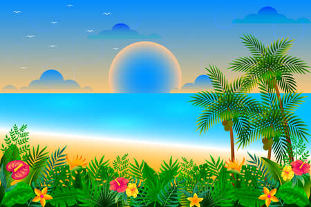 Illustration pour Sunset time on the tropical beach vector illustration - image libre de droit
