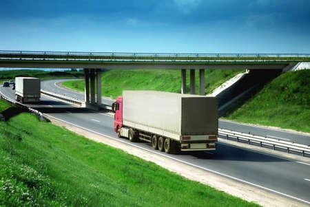 Photo pour trucks on a road - image libre de droit