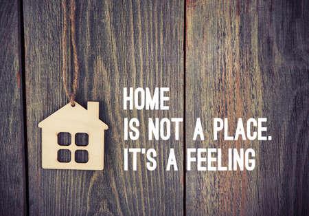 Photo pour house as symbol on wooden background with quote - image libre de droit