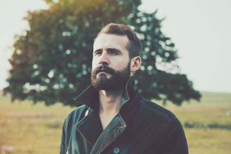 Photo for portrait of handsome bearded man with natural background - Royalty Free Image