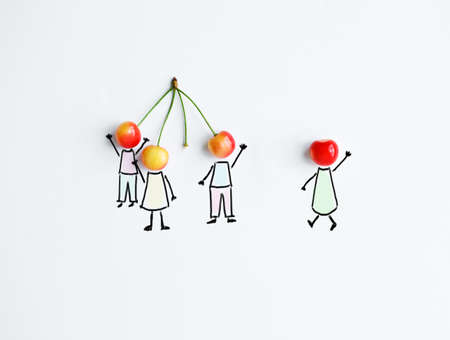 Photo for Cherry with hand drawing shapes of team or friends. One is joining to group - Royalty Free Image