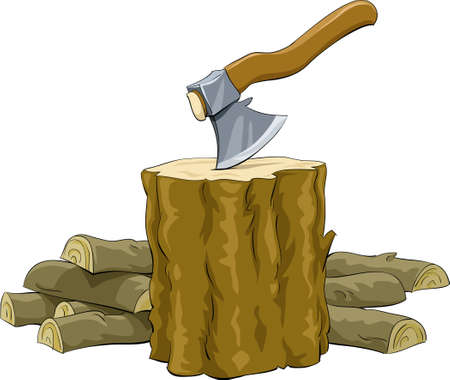 Stump with an ax and firewood