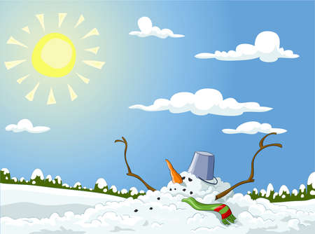 Winter landscape with melted snowman, vector illustration