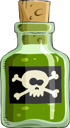 Bottle of poison on a white background, vector
