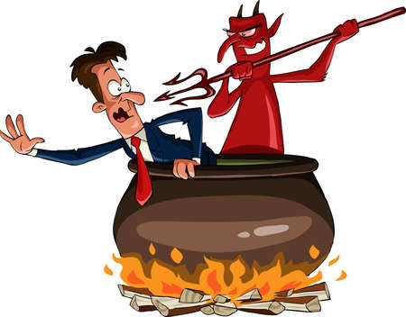 Infernal cauldron with the devil, vector illustration