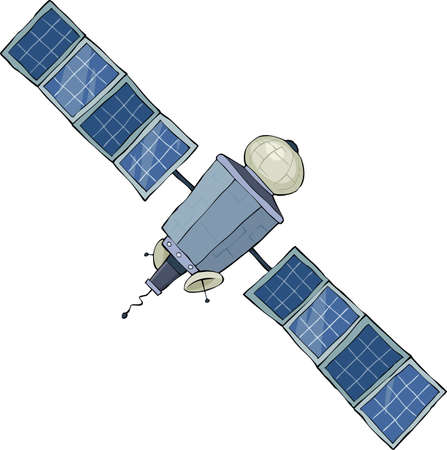 Space satellite on a white background, vector