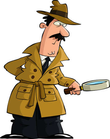 The detective looked through a magnifying glass vector