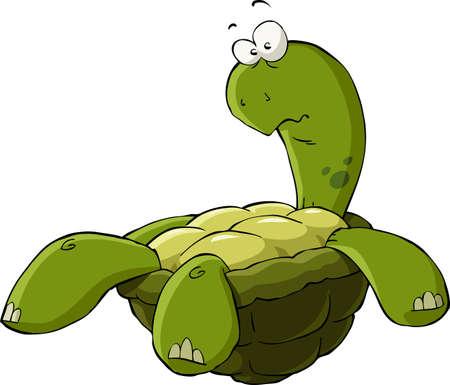 Illustration pour Cartoon turtle on the back vector illustration - image libre de droit