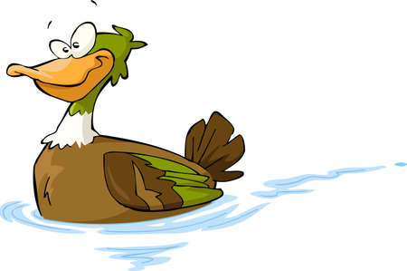 Floating duck on a white background illustration