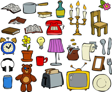 Household items doodle design elements illustration