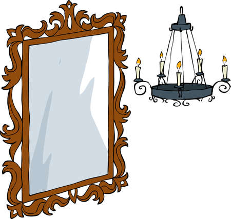 Mirror and a chandelier in baroque style vector