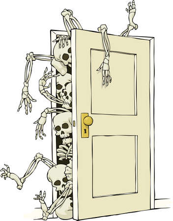Cartoon skeletons in the closet vector illustration