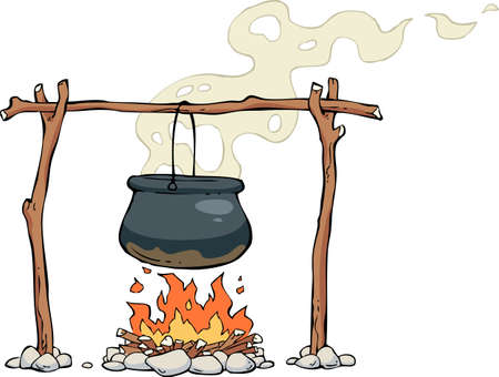 A pot on the fire illustration