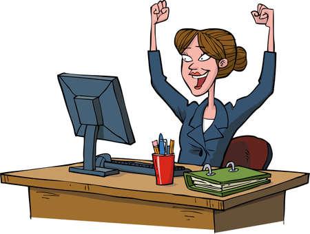 Illustration pour Business woman rejoices at a computer vector illustration - image libre de droit
