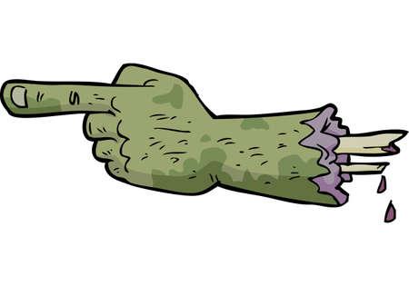 Illustration pour Cartoon doodle zombie hand points a finger vector illustration - image libre de droit