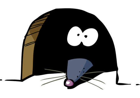 Cartoon mouse peeking out of a hole doodle vector illustration