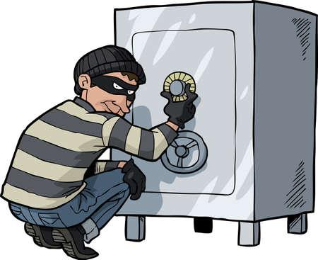 Illustration pour Cartoon thief safecracker breaks into a safe vector illustration - image libre de droit