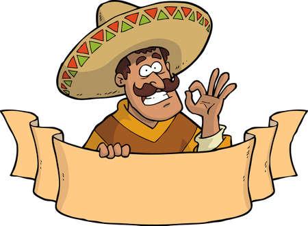 Illustration pour Cartoon mexican with a banner vector illustration - image libre de droit