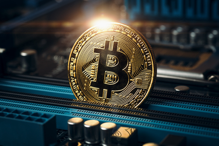 Photo for Cryptocurrency golden bitcoin coin. Conceptual image for crypto currency, toned - Royalty Free Image