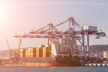 Photo pour Containers on freight ship in industrial sea port for shipping and logistic, cranes and other special equipment, international commerce delivery concept, toned - image libre de droit