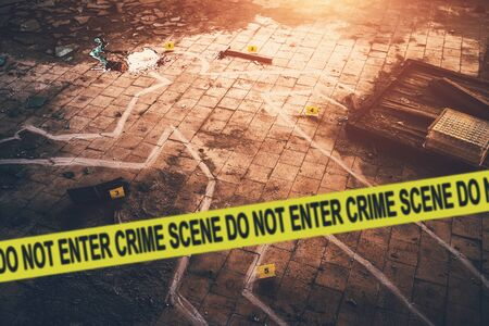 Photo pour White chalk outline of killed body, blood an floor and yellow police caution tape with text - crime scene, do not enter. Murder investigation concept, toned - image libre de droit