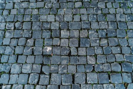 Photo for Paving stone texture, old Rome street top view as background for design. - Royalty Free Image