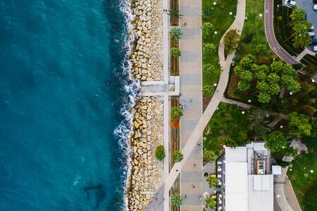 Photo for Limassol. Cyprus. Aerial top view of Limassol Molos Park, alley with palms for walking. Mediterranean sea coastline. - Royalty Free Image