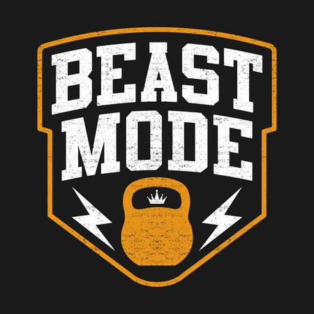 Illustration pour The Beast Mode Design, Illustration Sport Edition With Kettlebell - image libre de droit