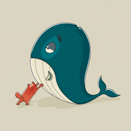 Cartoon illustration of a cute cat with a sickly or dead whale trying to push it upright or prop it up either out of friendship for an animal in need or because it anticipates a gigantic fish dinner