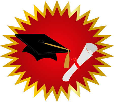 Seal of approval on your Graduation, with cap and diploma