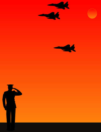 As the sun sets, a lone, soldier salutes, as fellow airmen do a fly  by of the missing man formation for their fallen friend.