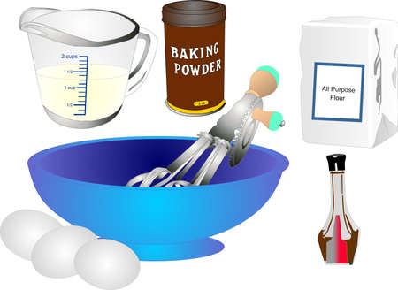 All the utensils to make a cake and most ingredients