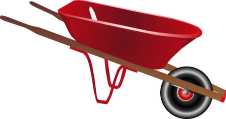 Bright red wheelbarrow isolated