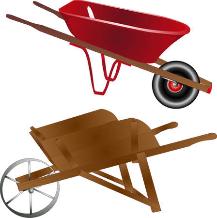 Old and new wheelbarrows, wooden and metal