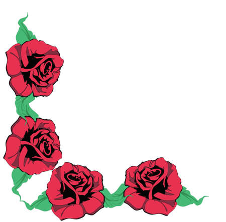 Four red roses, creating a corner for many usages..