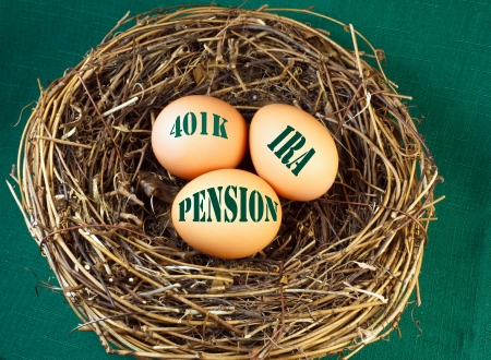 Nest with  eggs and the words 401k, IRA, and Penstion for retirement or future financial stability